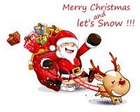 Fun santa snow deer Royalty Free Stock Photo