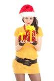 Fun santa woman with gift Royalty Free Stock Photo