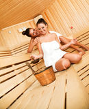 Fun in sauna Stock Photos