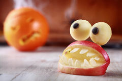 Fun scary homemade Halloween table decoration Stock Image