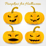 Fun and scary pumpkins set for halloween. Vector illustration Stock Image