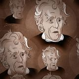 Andrew Jackson Seamless Background. A fun seamless background of Andrew Jackson designed to look like an old image with scratches Stock Image