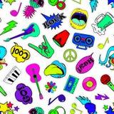 Fun Seamless Pattern Of Cartoon Musical Stickers. Stock Photo