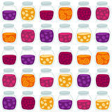 Fun seamless pattern with the colorful fruit jam jars. Stock Photos