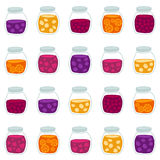 Fun seamless pattern with the colorful fruit jam jars. Royalty Free Stock Photography