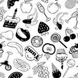 Fun Seamless Pattern Of Fruits And Sweets Stickers. Royalty Free Stock Photo