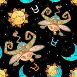 A fun seamless pattern for kids. Zodiac sign Taurus. Vector vector illustration