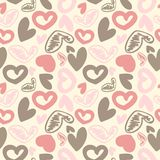 Fun seamless vintage love heart background in. Stock Images