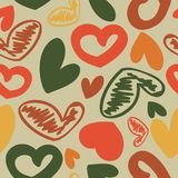 Fun seamless vintage love heart background in. Royalty Free Stock Images