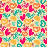 Fun seamless vintage love heart background in. Stock Image