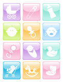 Glossy Baby Icons Set Royalty Free Stock Photo