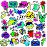 Fun Set Of Cartoon Musical Stickers. Royalty Free Stock Photography