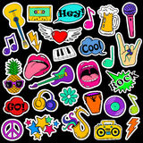 Fun Set Of Cartoon Musical Stickers. Royalty Free Stock Photo