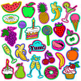 Fun Set Of Fruits And Sweets Stickers. Stock Photos