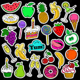 Fun Set Of Fruits And Sweets Stickers. Royalty Free Stock Images