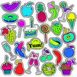 Fun Set Of Fruits And Sweets Stickers. Royalty Free Stock Photos