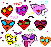 A fun set of hearts in different colors for Valentines day. Set the hearts of hipsters with glasses, mustache Royalty Free Stock Images