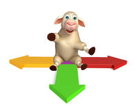 Fun Sheep cartoon character with arrow sign. 3d rendered illustration of Sheep cartoon character with arrow sign Royalty Free Stock Photography