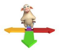 Fun Sheep cartoon character with arrow sign. 3d rendered illustration of Sheep cartoon character with arrow sign Royalty Free Stock Photos