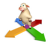 Fun Sheep cartoon character with arrow sign. 3d rendered illustration of Sheep cartoon character with arrow sign Stock Images