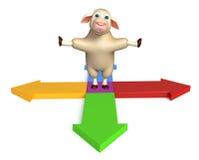 Fun Sheep cartoon character with arrow sign. 3d rendered illustration of Sheep cartoon character with arrow sign Royalty Free Stock Images