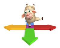 Fun Sheep cartoon character with arrow sign. 3d rendered illustration of Sheep cartoon character with arrow sign Stock Image
