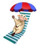 Fun Sheep  cartoon character with beach chair Royalty Free Stock Image