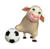fun Sheep  cartoon character  with football Stock Photos