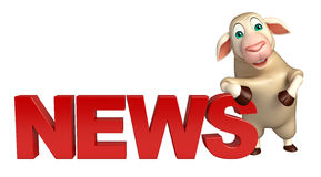 fun Sheep cartoon character with news sign Stock Image