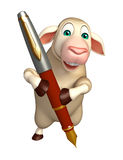 Fun Sheep cartoon character with pen. 3d rendered illustration of Sheep cartoon character with pen Royalty Free Stock Image