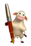 Fun Sheep cartoon character with pen Royalty Free Stock Photos