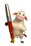 Fun Sheep cartoon character with pen. 3d rendered illustration of Sheep cartoon character with pen Royalty Free Stock Photos