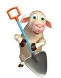 fun Sheep cartoon character with shovel Stock Image