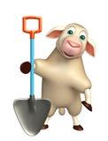 fun Sheep cartoon character with shovel Stock Photos