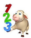 Fun Sheep cartoon character with 123 sign. 3d rendered illustration of Sheep cartoon character with 123 sign Royalty Free Stock Photography