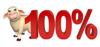 Fun Sheep  cartoon character with 100% sign. 3d rendered illustration of Sheep cartoon character with 100% sign Stock Photography