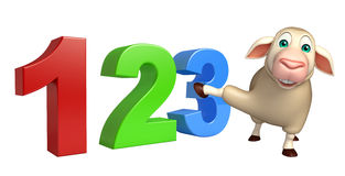 Fun Sheep cartoon character with 123 sign. 3d rendered illustration of Sheep cartoon character with 123 sign Stock Photography