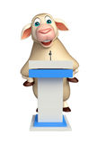 fun Sheep cartoon character with speech stage Stock Photos