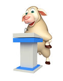fun Sheep cartoon character with speech stage Royalty Free Stock Photo