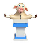 fun Sheep cartoon character with speech stage Royalty Free Stock Image