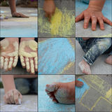 Fun with sidewalk chalk Stock Photo