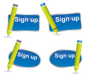 Fun sign up button or icon with pencil Royalty Free Stock Image