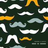 Fun silhouette mustaches frame corner pattern Stock Images