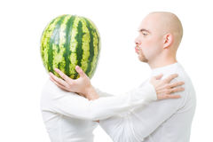 Fun situation - man in love with silly woman Stock Photography