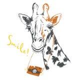 Fun sketch illustration of a giraffe photographer. Royalty Free Stock Photography