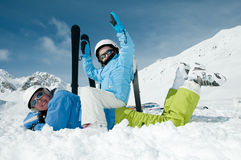 Fun on ski Stock Photos