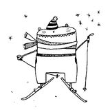 Fun skiing character monster cartoon outline freehand drawing Royalty Free Stock Photo