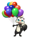 Fun Skunk cartoon character with baloon. 3d rendered illustration of Skunk cartoon character with baloon Stock Photos