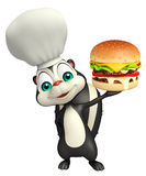 Fun Skunk cartoon character with burger  and chef hat. 3d rendered illustration of Skunk cartoon character with burger and chef hat Royalty Free Stock Photography