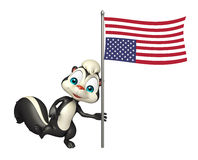 Fun Skunk cartoon character with flag. 3d rendered illustration of Skunk cartoon character with flag Royalty Free Stock Photos